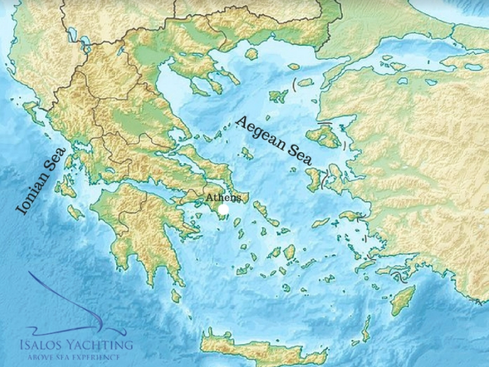 map of greece with aegean and ionian sea